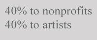 40% to artists, 40% to nonprofits